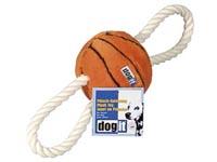 Hračka míč plyšový basket s provázkem
