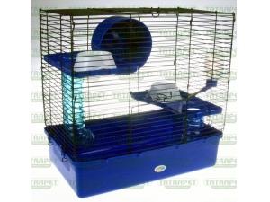 Klec pro křečky 38x24x36cm s výbavou modrá