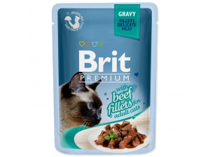 Kapsička BRIT Premium Cat Delicate Fillets in Gravy with Beef 85g