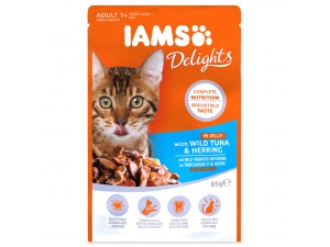 Kapsička IAMS Cat Delights Tuna & Herring in Jelly 85g