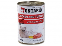 Konzerva ONTARIO Chicken, Turkey, Salmon Oil 400g